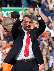 27.04.2014, Anfield, Liverpool, ENG, Premier League, FC Liverpool vs FC Chelsea, 36. Runde, im Bild Liverpool's manager Brendan Rodgers looks dejected at the final whistle as Chelsea's ultra defensive play leads to a 2-0 victory // during the English Premier League 36th round match between Liverpool FC and Chelsea FC at Anfield in Liverpool, Great Britain on 2014/04/27. EXPA Pictures © 2014, PhotoCredit: EXPA/ Propagandaphoto/ David Rawcliffe<br /> <br /> *****ATTENTION - OUT of ENG, GBR*****