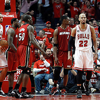 18 May 2011: Chicago Bulls center Joakim Noah (13) and Chicago Bulls forward Taj Gibson (22) react during the Miami Heat 85-75 victory over the Chicago Bulls, during game 2 of the Eastern Conference finals at the United Center, Chicago, Illinois, USA.