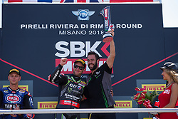 July 8, 2018 - Misano, RN, Italy - Jonathan Rea of Kawasaki Racing Team celebrate the victory on race 2 of the Motul FIM Superbike Championship, Riviera di Rimini Round, at Misano World Circuit ''Marco Simoncelli'', on July 08, 2018 in Misano, Italy  (Credit Image: © Danilo Di Giovanni/NurPhoto via ZUMA Press)