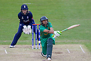 Pakistan womens cricket player Asmavia Iqbal Khokhar is given out LBW during the ICC Women's World Cup match between England and Pakistan at the Fischer County Ground, Grace Road, Leicester, United Kingdom on 27 June 2017. Photo by Simon Davies.
