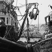 Au port d'Agadir, des marins s'apprêtent à partir en mer à bord de chalutiers.