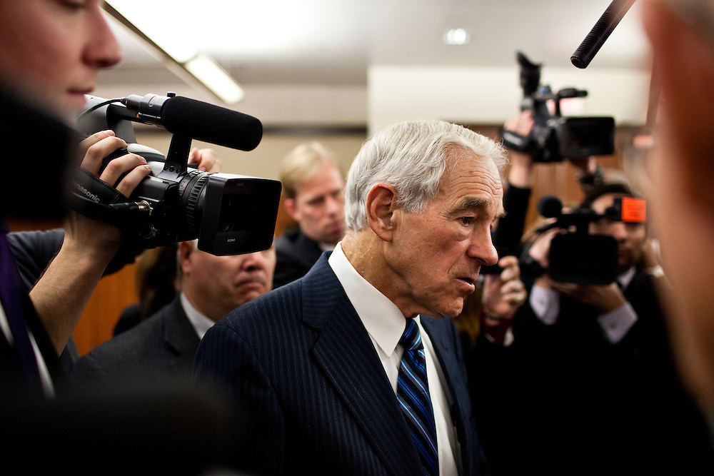 Republican presidential candidate Ron Paul speaks to reporters after talking to employees of GuideOne Insurance on Wednesday, December 28, 2011 in West Des Moines, IA.