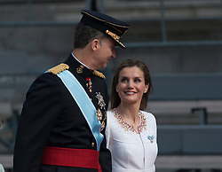 Spain's King Felipe VI (L) and Queen Letizia attend a military review prior to the new king's succession ceremony in Madrid. EXPA Pictures © 2014, PhotoCredit: EXPA/ Photoshot/ Xie Haining<br /> <br /> *****ATTENTION - for AUT, SLO, CRO, SRB, BIH, MAZ only*****