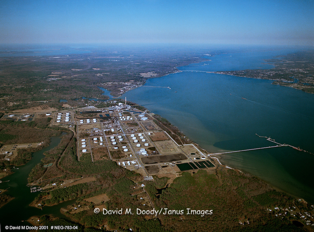 Aerial View: BP Oil Refinery on the York River, Yorktown, Virginia. March 14, 2001. Later sold to Giant and then Western Refining.