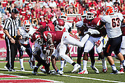 FAYETTEVILLE, AR - SEPTEMBER 5:  Alex Collins #3 of the Arkansas Razorbacks runs the ball in for a touchdown during a game against the UTEP Miners at Razorback Stadium on September 5, 2015 in Fayetteville, Arkansas.  The Razorbacks defeated the Miners 48-13.  (Photo by Wesley Hitt/Getty Images) *** Local Caption *** Alex Collins