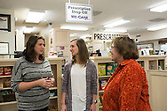 Pharmacy Drug Take Back program co-owners, Courtney Redding and Lisa Hladick, talk with Lynn Malley regarding the program. <br /> Razor's Pharmacy is the only drug store in Stillwater that has a MedDrop box.