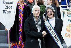 "© Licensed to London News Pictures. 08/03/2015. London, UK. Annie Lennox with Helen Pankhurst at the ""Walk In Her Shoes"" event to mark International Women's Day at The Scoop amphitheatre on the south bank in London. Photo credit : Vickie Flores/LNP"