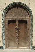 Africa. Kenya. Lamu Town..Swahili carved door..CD0012
