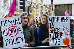 © Licensed to London News Pictures. 10/01/2020. London, UK. Hundreds of Australians and campaigners from Extinction Rebellion climate change movement group protest in central London against the Australian government's failure to respond to the bush fires and address the climate and ecological crisis. Photo credit: Dinendra Haria/LNP