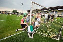 Players and supporters of Olimpija celebrate after they became Slovenian National Champion 2018 after the football match between NK Domzale and NK Olimpija Ljubljana in 36th Round of Prva liga Telekom Slovenije 2017/18, on May 27, 2018 in Sports park Domzale, Domzale, Slovenia. Photo by Vid Ponikvar / Sportida