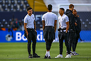 England forward Jadon Sancho (Borussia Dortmund) England forward Marcus Rashford (Manchester United) and England midfielder Jesse Lingard (Manchester United) during the England walk around the pitch ahead of the Nations League Semi-Final against Holland at Estadio D. Afonso Henriques, Guimaraes, Portugal on 5 June 2019.