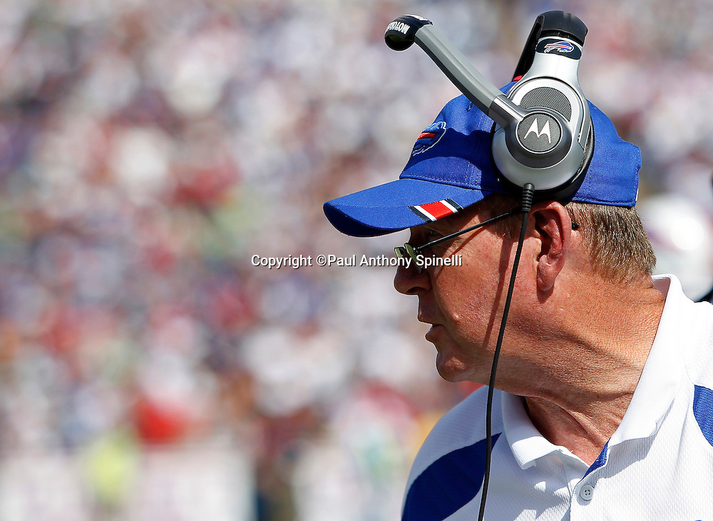 Buffalo Bills head coach Chan Gailey looks on during the NFL week 3 football game against the New England Patriots on Sunday, September 25, 2011 in Orchard Park, New York. The Bills won the game 34-31. ©Paul Anthony Spinelli