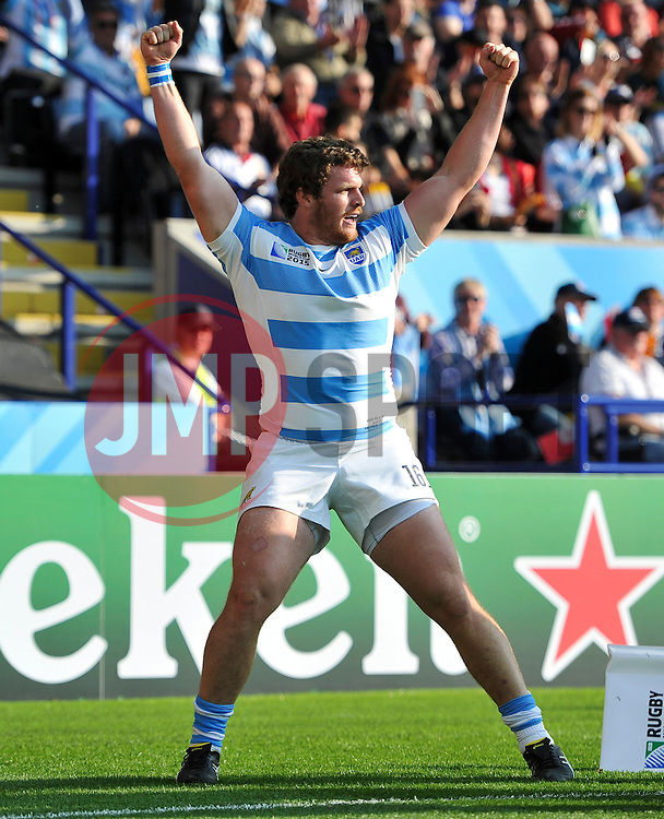 Julian Montoya of Argentina celebrates scoring a try - Mandatory byline: Patrick Khachfe/JMP - 07966 386802 - 04/10/2015 - RUGBY UNION - Leicester City Stadium - Leicester, England - Argentina v Tonga - Rugby World Cup 2015 Pool C.