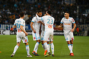 Konstantinos Mitroglou of Olympique de Marseille celebrates scoring during the French Championship Ligue 1 football match between Olympique de Marseille and Olympique Lyonnais on march 18, 2018 at Orange Velodrome stadium in Marseille, France - Photo Philippe Laurenson / ProSportsImages / DPPI