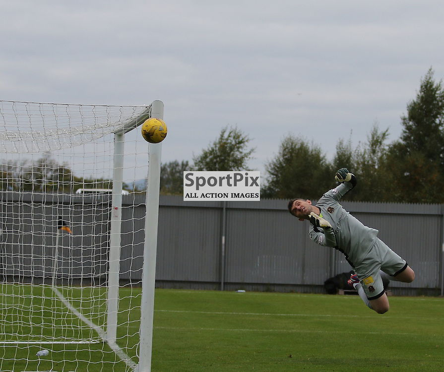 Mark Brown pulls off a brilliant save during the Dumbarton FC  v Livingston FC Scottish Championship 3rd October 2015 <br /> <br /> (c) Andy Scott | SportPix.org.uk