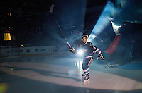 KELOWNA, CANADA - SEPTEMBER 25: Gordie Ballhorn #4 of Kelowna Rockets enters the ice during the season home opener against the Kamloops Blazers on September 25, 2015 at Prospera Place in Kelowna, British Columbia, Canada.  (Photo by Marissa Baecker/Shoot the Breeze)  *** Local Caption *** Gordie Ballhorn;