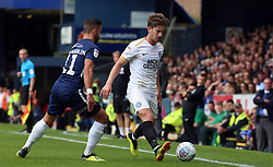 Alex Woodyard of Peterborough United is closed down by Stephen McLaughlin of Southend United - Mandatory by-line: Joe Dent/JMP - 08/09/2018 - FOOTBALL - Roots Hall - Southend-on-Sea, England - Southend United v Peterborough United - Sky Bet League One