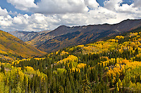 A scenic view of the San Juan Mountains  on Red Mountain Pass during the autumn season, Colorado.