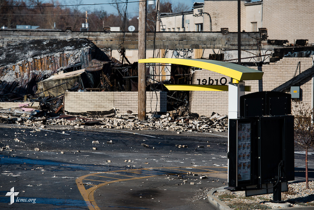 Remnants of a destroyed building in Ferguson, Mo., on Tuesday, Nov. 25, 2014. The building caught fire the previous night following a grand jury decision not to indict Ferguson Police Officer Darren Wilson in the shooting death of Michael Brown. LCMS Communications/Erik M. Lunsford