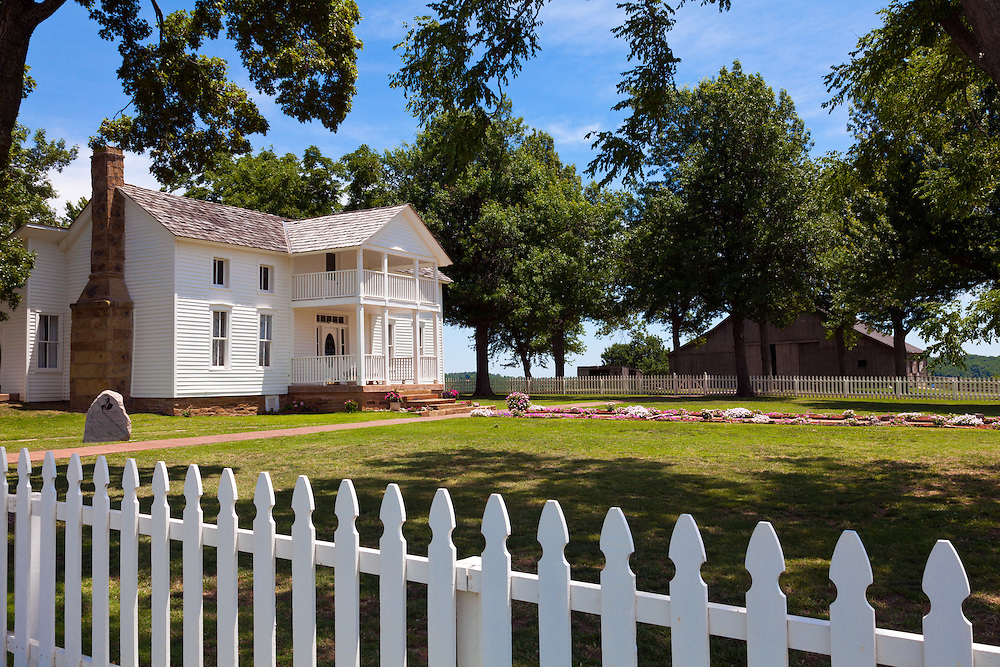 """Oologah, Oklahoma:   """"White House on the Verdigris River"""" is preserved as the birthplace of American humorist Will Rogers.  His birthplace is located two miles east of Oologah, Oklahoma. The house was moved about ¾ mile (1.2 km) to its present location overlooking its original site when the Verdigris River valley was flooded to create Oologah Lake."""