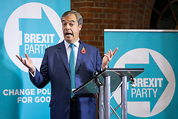 © Licensed to London News Pictures. 01/11/2019. London, UK. Nigel Farage speaks at Emmanuel Centre for the Brexit Party general election campaign launch. Photo credit: Rob Pinney/LNP