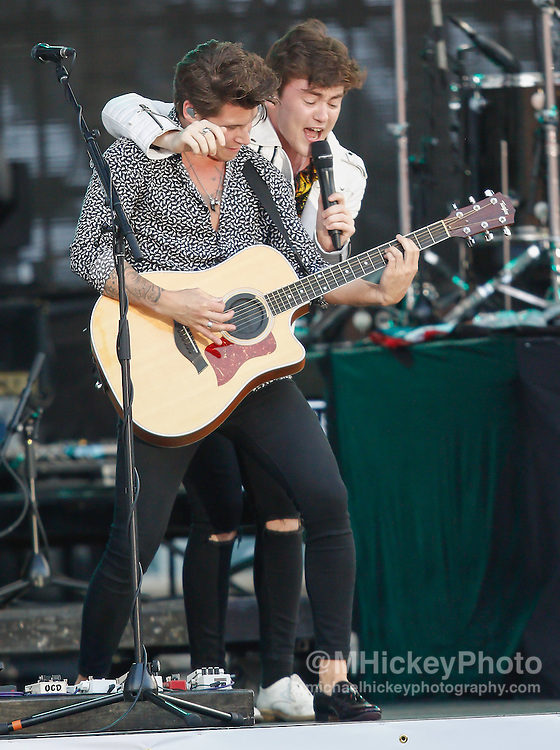 CINCINNATI - JUL 11: Charlie Bagnell and Jake Roche of Rixton performs at Paul Brown Stadium on July 11, 2015 in Cincinnati, Ohio. (Photo by Michael Hickey/Getty Images) *** Local Caption *** Charlie Bagnell; Jake Roche