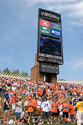 Fans on the hill in front of the Hoo Vision scoreboard at Scott Stadium.  The Virginia Cavaliers football team faced the Georgia Tech Yellow Jackets at Scott Stadium in Charlottesville, VA on September 22, 2007.