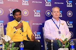 December 18, 2018 - Jaipur, Rajasthan, India - Chennai Super Kings bowling coach Laxmipathy Balaji (L), Sunrisers Hyderabad coach Tom Moody  speak at a press conference for the Indian Premier League 2019 auction in Jaipur on December 18, 2018, as teams prepare their player rosters ahead of the upcoming Twenty20 cricket tournament next year. The 2019 edition of the IPL -- one of the world's most-watched sporting events attracting the world's top stars -- is set to take place in April and May next year.(Photo By Vishal Bhatnagar/NurPhoto) (Credit Image: © Vishal Bhatnagar/NurPhoto via ZUMA Press)