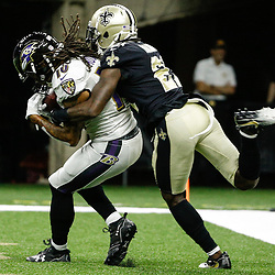 Aug 31, 2017; New Orleans, LA, USA; Baltimore Ravens wide receiver Chris Moore (10) catches a touchdown past New Orleans Saints defensive back De'Vante Harris (21) during the first half of a preseason game at the Mercedes-Benz Superdome. Mandatory Credit: Derick E. Hingle-USA TODAY Sports