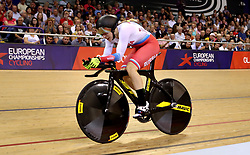 Russia's Daria Shmeleva competes in the Women's 500m Time Trial Final during day five of the 2018 European Championships at the Sir Chris Hoy Velodrome, Glasgow.