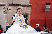 A young beauty queen waves during a parade through the streets to celebrate the 251st birthday of the Mexican Independence hero Ignacio Allende January 21, 2020 in San Miguel de Allende, Guanajuato, Mexico. Allende, from a wealthy family in San Miguel played a major role in the independency war against Spain in 1810 and later honored by his home city by adding his name.