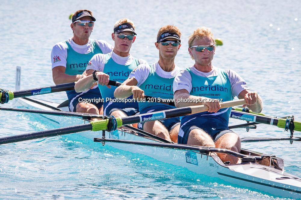 2015 Mens Premier Coxless Four Winners (L-R) John Storey, James Lassche, Alistair Bond, Hamish Bond. 2015 Bankstream New Zealand Rowing Championships, Lake Ruataniwha, Twizel. 20 February 2015. Copyright photo: Hamish Burson/www.photosport.co.nz