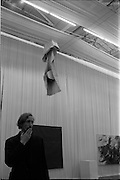 1/11/1967<br /> 11/11/1967<br /> 11 November 1967<br /> ROSC Art Exhibition 1967.<br /> John Latham standing under his exhibit Soft Skoob 1966 hung at the ROSC exhibition at the Royal Dublin Society, Dublin.