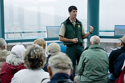U.S. Forest Service Ranger Giving a Public Presentation on the Geology of Mt. St. Helens on a Cloudy Day at the Coldwater Ridge Visitor Center, Mt. St. Helens National Volcanic Monument, Washington, September 2005