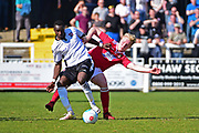 Wrexham Defender Oliver Marx tackles Bromley Forward Tobi Sho-Silva during the Vanarama National League match between Bromley FC and Wrexham FC at Hayes Lane, Bromley, United Kingdom on 8 April 2017. Photo by Jon Bromley.
