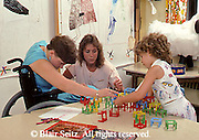 Medical, Therapist and Child with Muscular Dystrophy Patient, Therapy Center