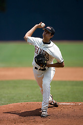 Oregon State Beavers P Jorge Reyes (23) pitches against Rutgers.  The Oregon State Beavers defeated the Rutgers Scarlet Knights 5-2 in Game 5 of the NCAA World Series Charlottesville Regional held at Davenport Field in Charlottesville, VA on June 4, 2007.