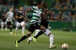 September 20, 2018 - Lisbon, Portugal - Sporting's forward Raphinha from Brazil (L) vies with Qarabag's forward Innocent Emeghara during the UEFA Europa League Group E football match Sporting CP vs Qarabag at Alvalade stadium in Lisbon, on September 20, 2018. (Credit Image: © Pedro Fiuza/NurPhoto/ZUMA Press)