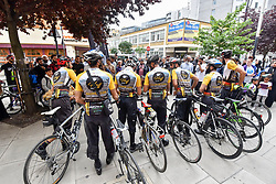 © Licensed to London News Pictures. 14/07/2017. London, UK. Muslim cyclists gather at the East London Mosque in Whitechapel to set out on the 'Hajj Ride', the first ever charity cycle ride from London to Medina in Saudi Arabia.  The 3,500km, 6 week ride will pass through 8 countries raising funds for medical aid in Syria.  Intended to champion cycling in Muslim society, the ride also aims to satisfy one of the five pillars of Islam, being the Hajj pilgrimage to Mecca.  Photo credit : Stephen Chung/LNP