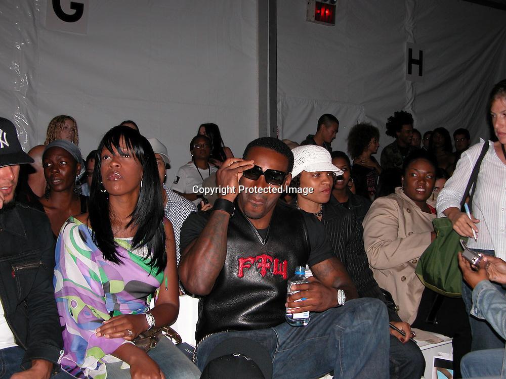 Tyson Beckford <br />Fusha Fashion Show Front Row &amp; backstage<br />The Bryant Tent, Bryant Park<br />New York City, NY, USA<br />Saturday, September, 13, 2003 <br />Photo By Celebrityvibe.com/Photovibe.com