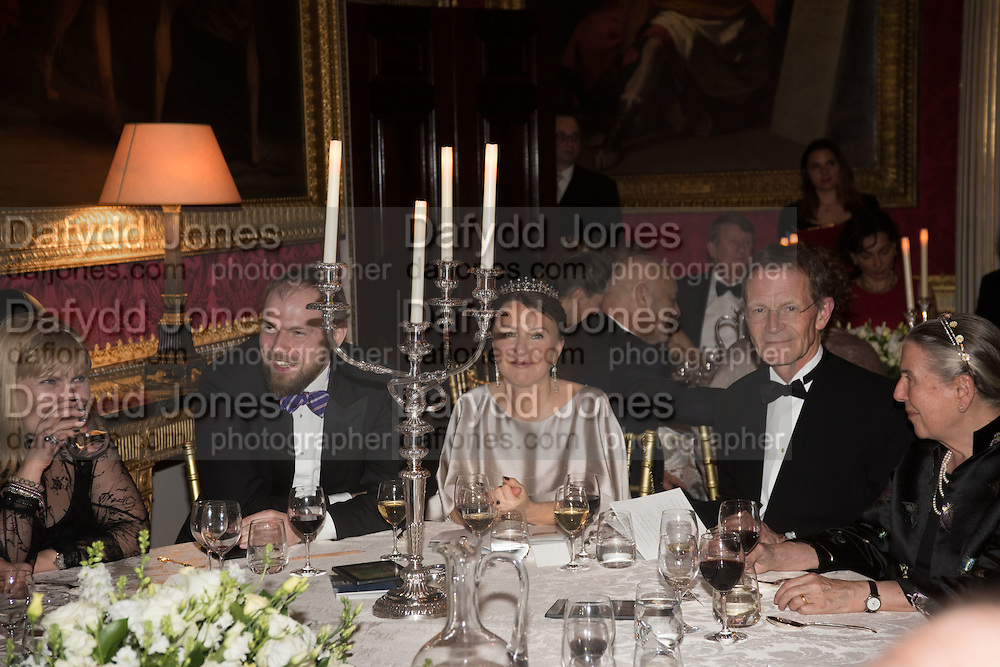 TIMO KULOKOFF,;INNA BAZHENOVA,;;  SIR NICHOLAS SEROTA,   Professor Mikhail Piotrovsky Director of the State Hermitage Museum, St. Petersburg and <br /> Inna Bazhenova Founder of In Artibus and the new owner of the Art Newspaper worldwide<br /> host THE HERMITAGE FOUNDATION GALA BANQUET<br /> GALA DINNER <br /> Spencer House, St. James&rsquo;s Place, London<br /> 15 April 2015