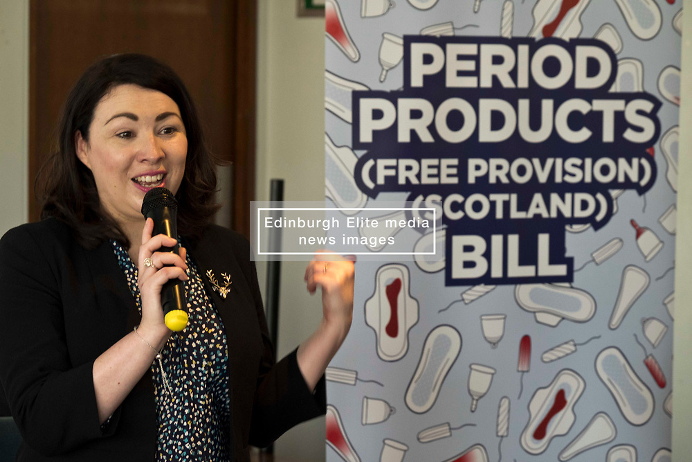 Pictured: Monica Lennon<br /> <br /> Labour health spokeswoman Monica Lennon will formally lodge her period poverty Member's Bill to help make Scotland a world leader for period poverty. Ms Lennon was joined by members from CoSLA, Comminication Workers Union, representatives from YWCA,  girl guides, local and national politicians in Edinburgh before her Bill was laid before the Scottish Parliament<br /> <br /> <br /> Ger Harley | EEm 24 April 2019