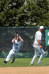 17 April 2016:  John Bosco grabs a fly ball in short left field during an NCAA division 3 College Conference of Illinois and Wisconsin (CCIW) Pay in Baseball game during the Conference Championship series between the North Central Cardinals and the Illinois Wesleyan Titans at Jack Horenberger Stadium, Bloomington IL
