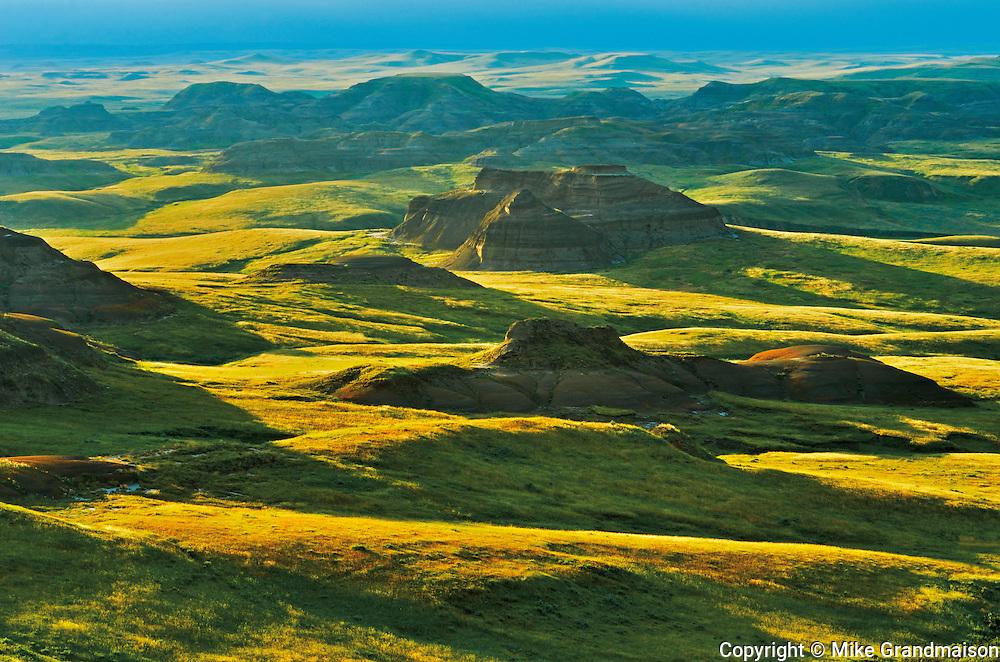 Rolling hills of the Killdeer Badlands at sunset. East Block.<br /> Grasslands National Park<br /> Saskatchewan<br /> Canada