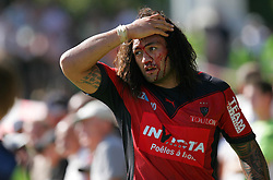 Toulon's Fotunuupule Auelua bleeds heavily from a head injury suffered during the French Top 14 Rugby Match, Montauban vs Toulon on Sunday to cap a memorable week for the south-western club at the Sapiac stadium in Montauban, France on September 6, 2009