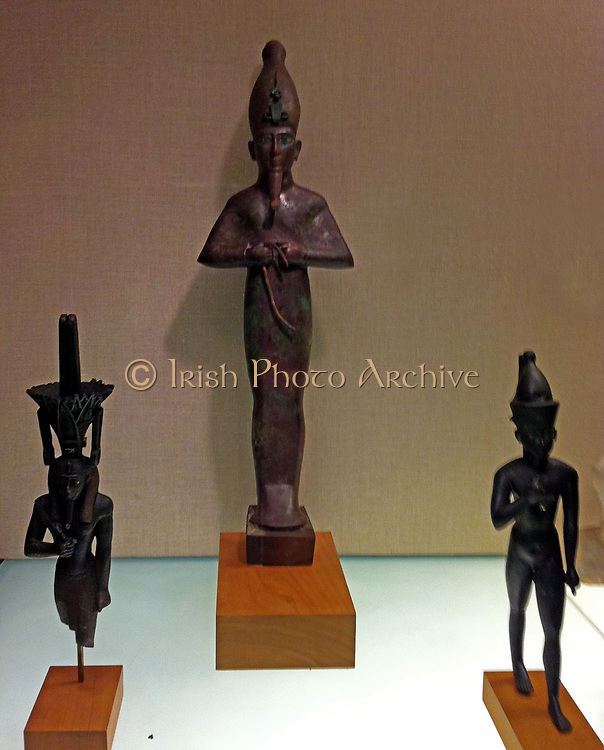 Egyptian bronze sculptures of gods, from the Ptolemaic period in Egypt, 332 BC -30 AD.