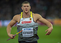 Athletics - 2017 IAAF London World Athletics Championships - Day Nine, Evening Session<br /> <br /> Mens Javelin Final<br /> <br /> Andreas Hoffman (Germany) prepares his throw in his mind at the London Stadium<br /> <br /> COLORSPORT/DANIEL BEARHAM