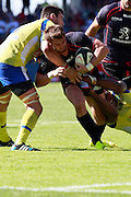 Maxime MEdard attacks for Stade Toulousain.  Stade Toulousain v ASM Clermont Auvergne, Stade Ernest Wallon, Samedi 13 September 2014. Top 14 5eme Journee.