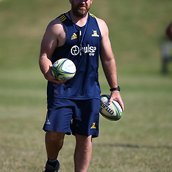 Clarke Dermody (Srum Coach) of the Pulse Energy Highlanders during the Pulse Energy Highlanders training session at Crawford College, La Lucia ,Durban.South Africa. 01,05,2018 Photo by Steve Haag)