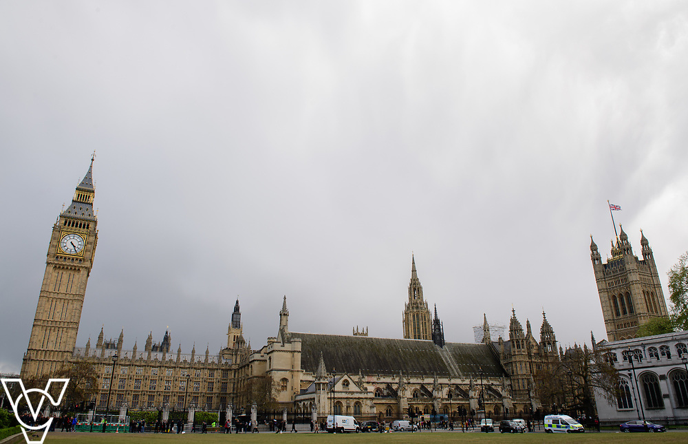 Stock photograph:<br /> <br /> House of Parliament, Big Ben, Parliament, Government, London, Westminster, Elizabeth Tower, clock, clock tower, House of Commons, The Palace of Westminster, grey sky, clouds<br /> <br /> Picture: Chris Vaughan/Chris Vaughan Photography<br /> Date: April 26, 2017
